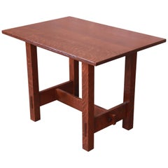 Gustav Stickley Mission Oak Arts & Crafts Desk or Library Table, Newly Restored