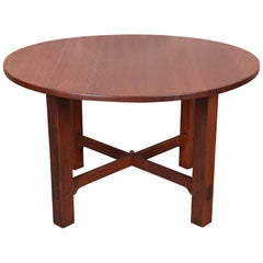 Gustav Stickley Mission Oak Arts & Crafts Round Dining Table, Newly Restored