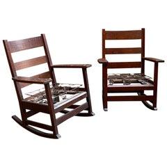 Gustav Stickley Oak Rocking Chairs, a Pair