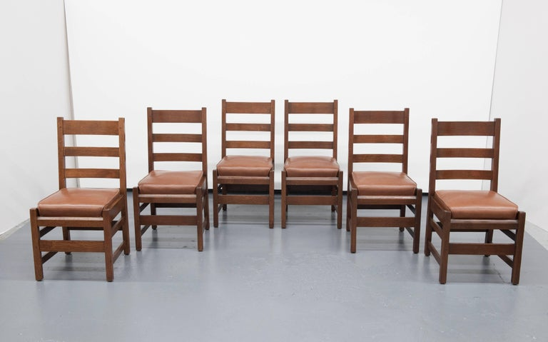 Gustav Stickley Slatted Set Of Six Mission Style Side