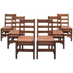 Gustav Stickley Slatted Set of Six Mission Style Side Chairs