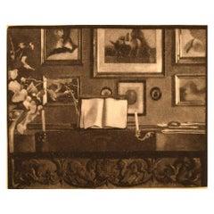Gustav V. Blom, Interior with Piano, Dated 1914