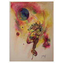 Untitled Seahorse Abstract Space Watercolor Painting