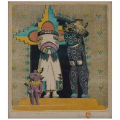 Gustave Baumann Color Woodblock Print, 1921, Strangers from Hopiland