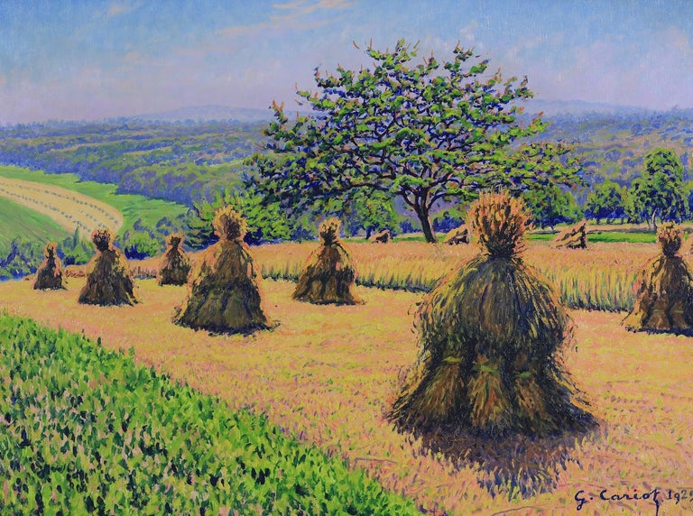 Haystack painting by Gustave Cariot - Painting by Gustave Camille Gaston Cariot
