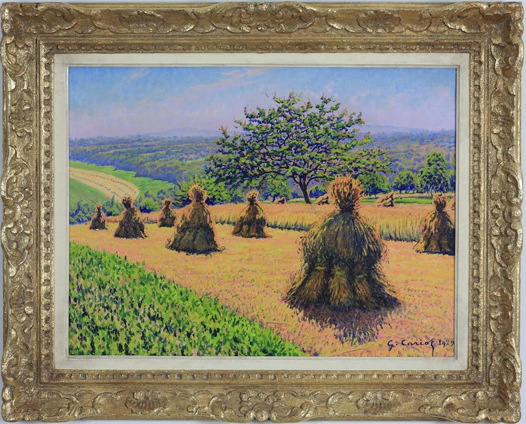 Gustave Camille Gaston Cariot Landscape Painting - Haystack painting by Gustave Cariot