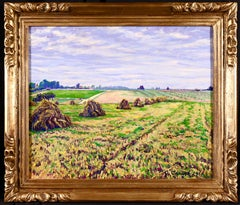Haystacks - 20th Century Post Impressionist Oil, Landscape by Gustave Cariot