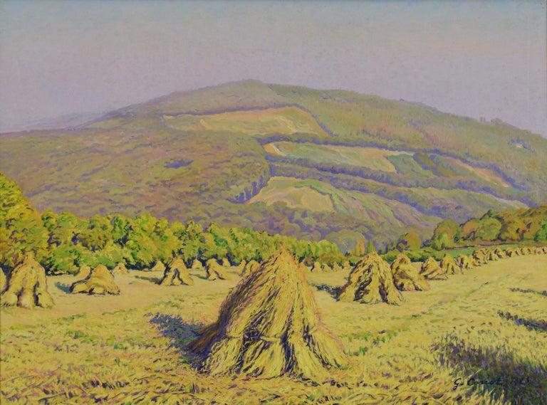Haystacks by Gustave Cariot 'Paysage aux Bottes de Blé Devant la Montagne' - Painting by Gustave Camille Gaston Cariot