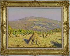 Haystacks by Gustave Cariot 'Paysage aux Bottes de Blé Devant la Montagne'