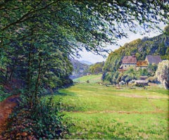 Valle de Walluf - Rhine - 20th Century Oil, Cottages in Landscape by G Cariot