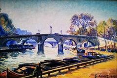 """""""View on the Bridge 1933"""", R. Seine landscape, post-impressionist, oil on board"""