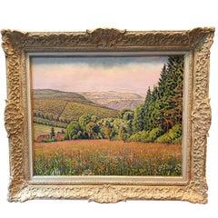 """Gustave Cariot, """"Paysage De Rhenanie Aux Champs Fleuris"""""""