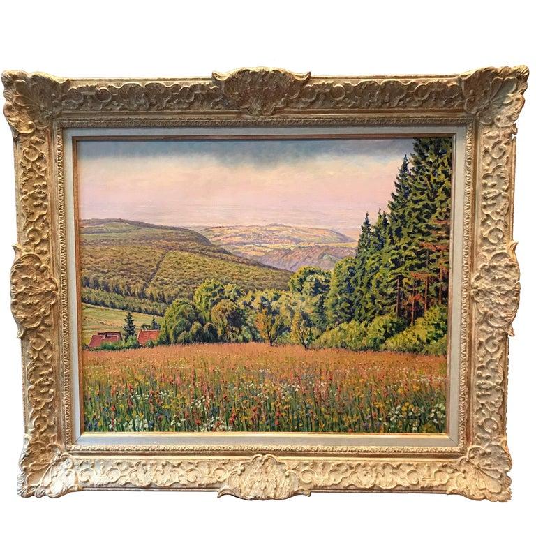 """Gustave Cariot, """"Paysage De Rhenanie Aux Champs Fleuris"""" For Sale"""