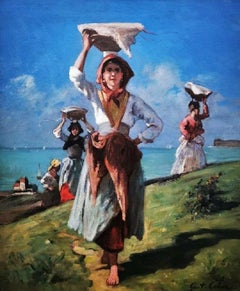 """""""Bringing Home the Catch"""", French peasant girls, coastal landscape,oil on canvas"""