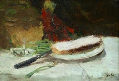 Bread & Butter - 19th Century Oil, Still Life in Interior by Gustave Courbet