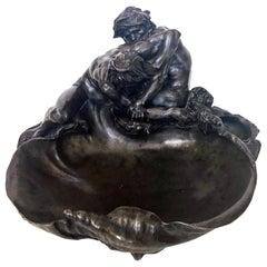 Gustave Frédéric Michel Sculpture centerpiece, The Wrestlers, circa 1900