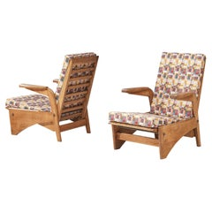 Gustave Gautier Pair of Lounge Chairs in Oak and Patterned Fabric