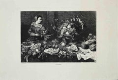 The Grocer - Original Etching by Gustave Greux d'après Snyders - 1870