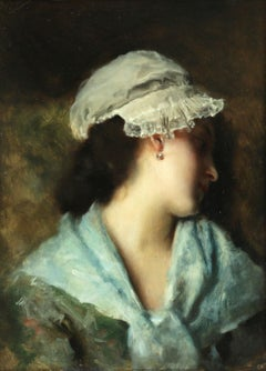 Fille au Repos - 19th Century Oil, Portrait of Girl Resting by Gustave Jacquet