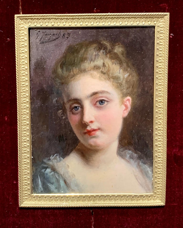 Portrait of a French 19th century lady in a gilt and ormolu hand made frame - Painting by Gustave Jean Jacquet