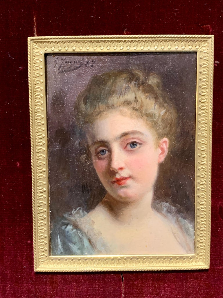 Portrait of a French 19th century lady in a gilt and ormolu hand made frame - Victorian Painting by Gustave Jean Jacquet