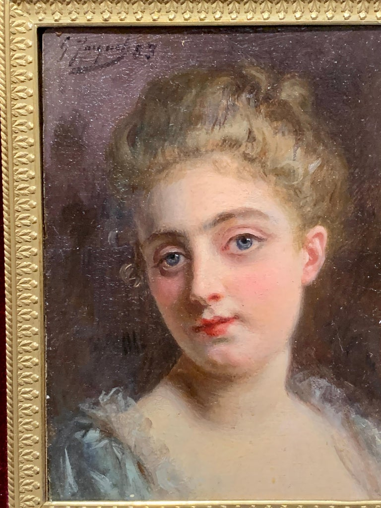 Portrait of a French 19th century lady in a gilt and ormolu hand made frame - Brown Portrait Painting by Gustave Jean Jacquet
