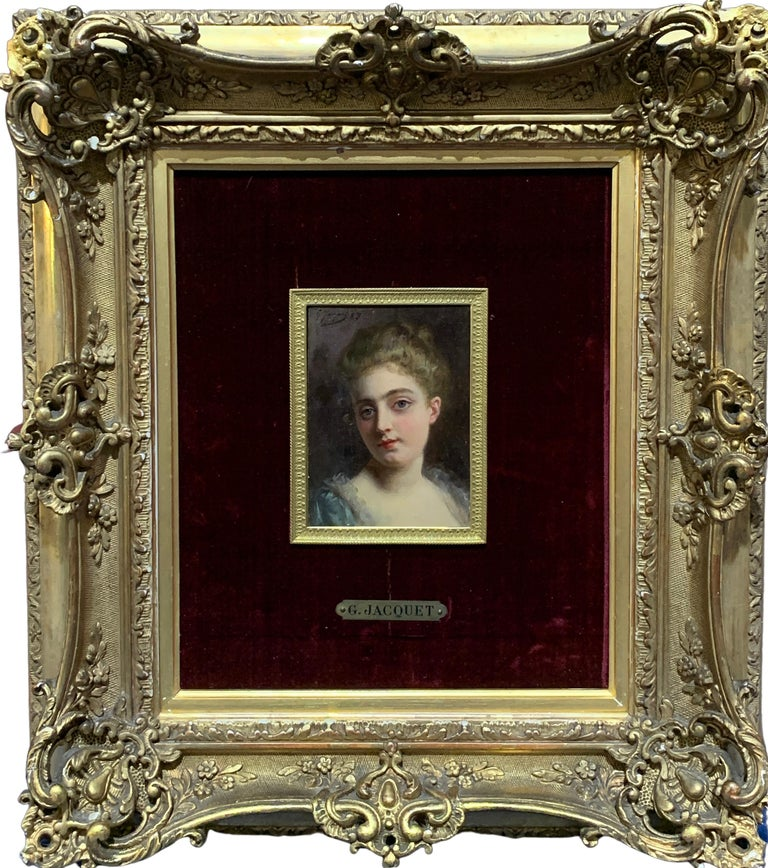 Gustave Jean Jacquet Portrait Painting - Portrait of a French 19th century lady in a gilt and ormolu hand made frame