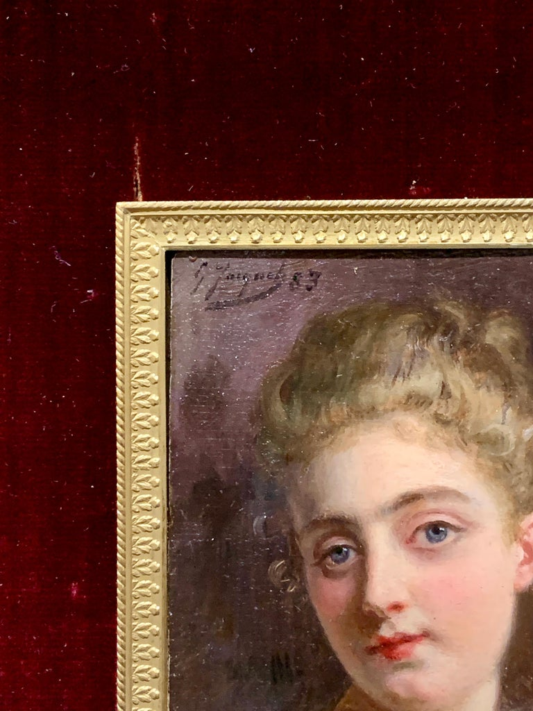 Portrait of a French 19th century lady in a gilt and ormolu hand made frame For Sale 1