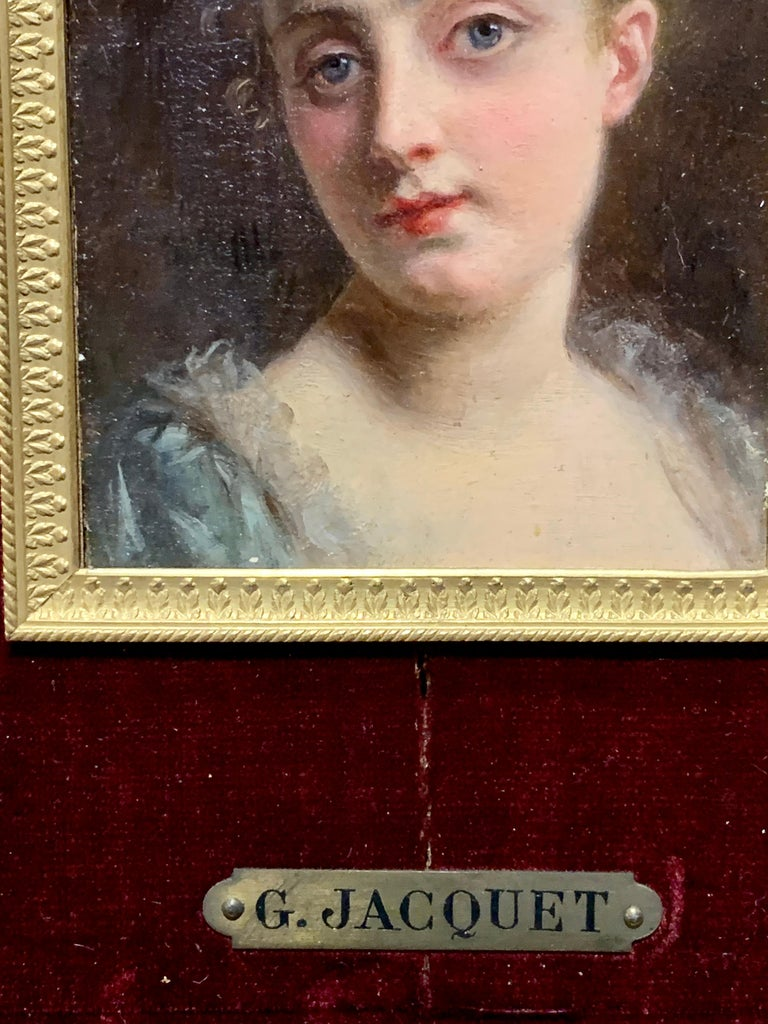 Portrait of a French 19th century lady in a gilt and ormolu hand made frame For Sale 2