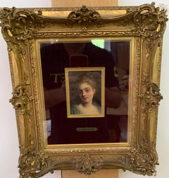 Portrait of a French 19th century lady in a gilt and ormolu hand made frame