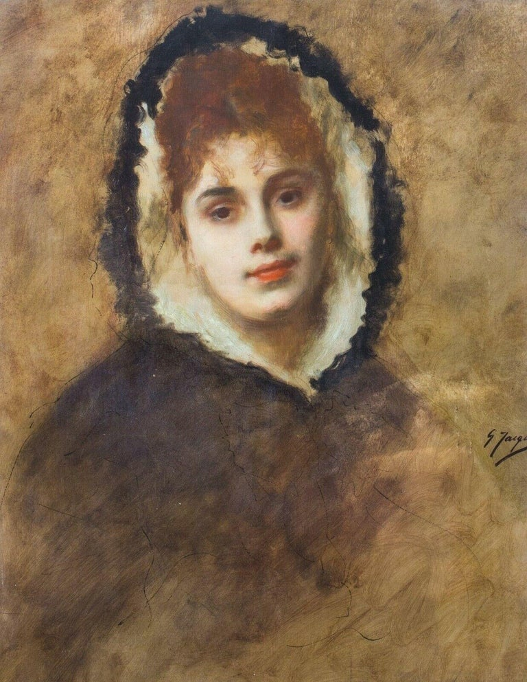 Gustave Jean Jacquet Portrait Painting - Portrait Of A Lady In A Fur Lined Hood, 19th Century