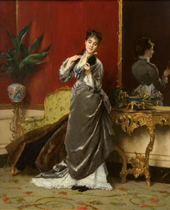 "19th Century Academic portrait of a woman titled ""Dressing for the Ball"""