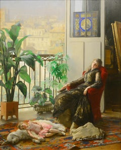 "Academic portrait of a woman with child and dog titled, ""Afternoon Repose"""