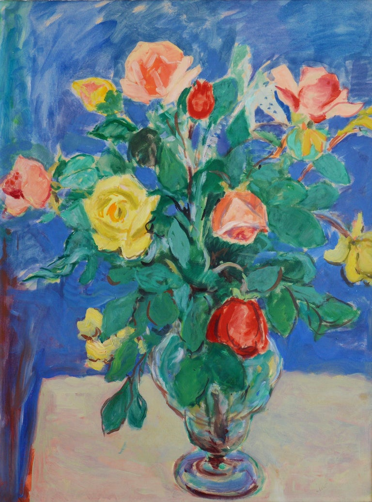 Bunch of Roses, Oil on Paper - Painting by Gustave Lino