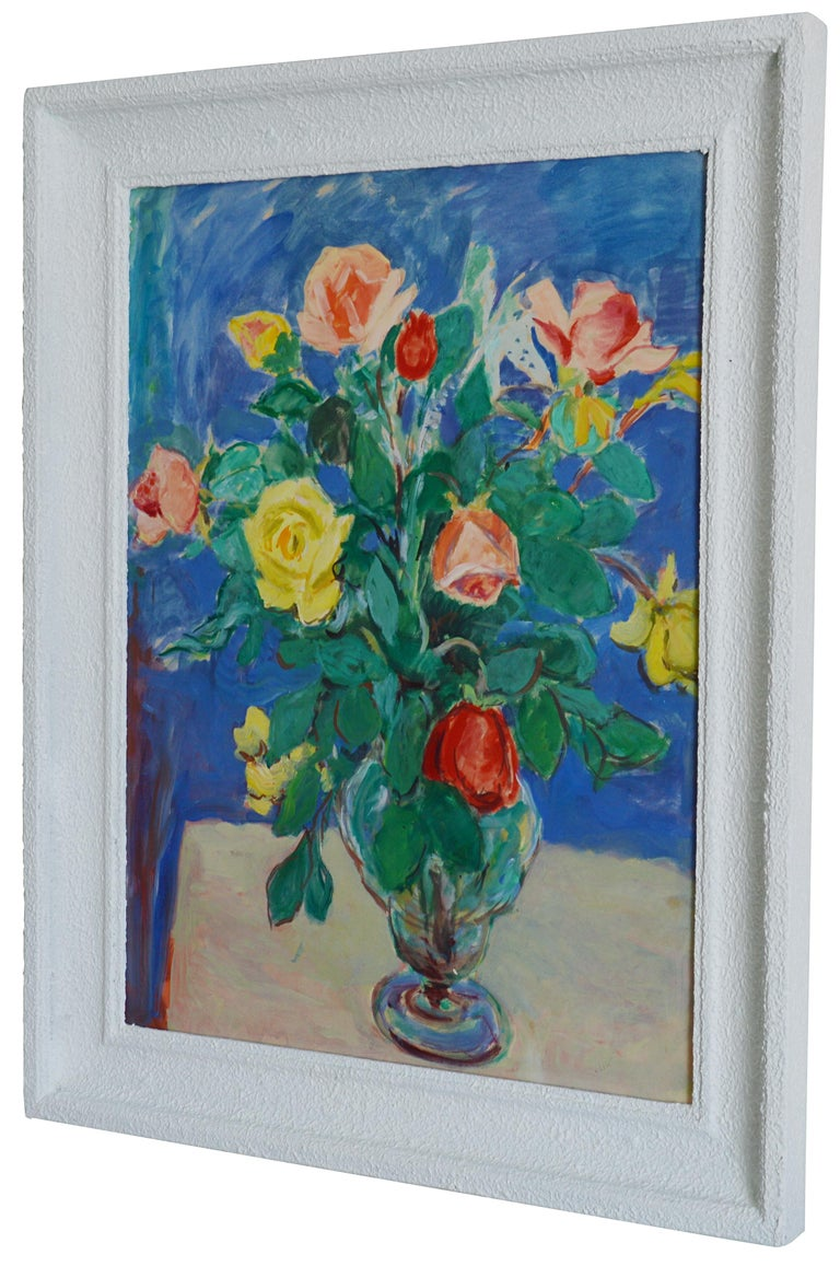 Bunch of Roses, Oil on Paper - Realist Painting by Gustave Lino