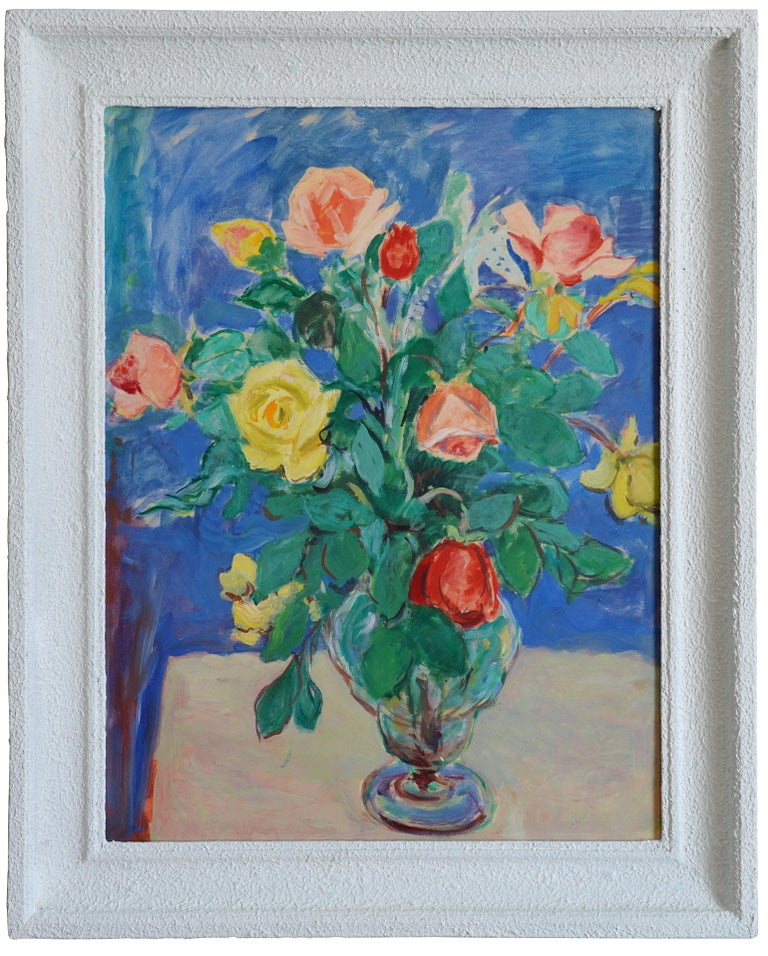 Gustave Lino Figurative Painting - Bunch of Roses, Oil on Paper