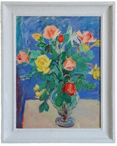 Gustave Lino, Bunch of Roses, Oil on Paper, 1950s