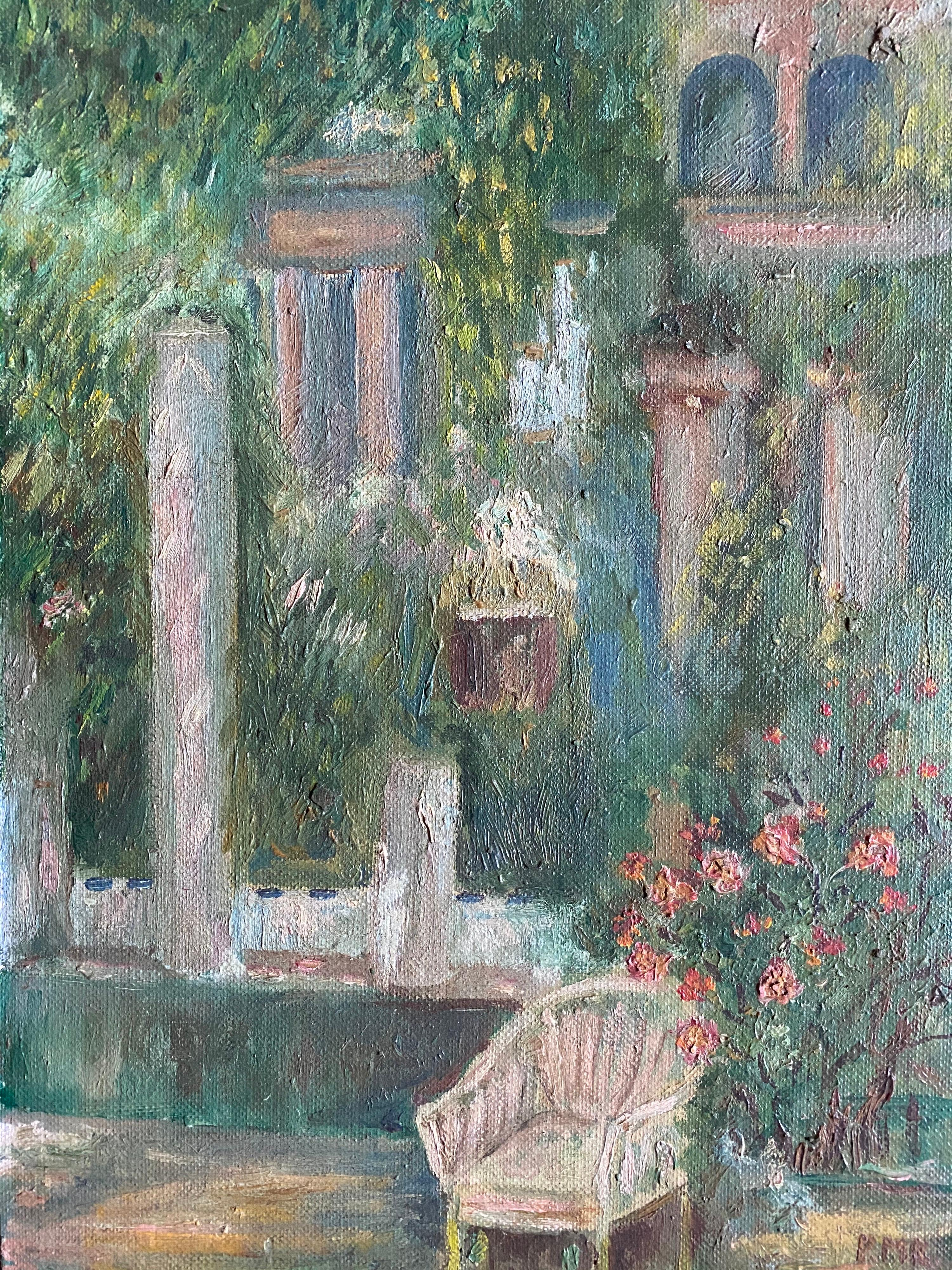 Antique French Impressionist Oil - Summer Garden Flowers and Chair
