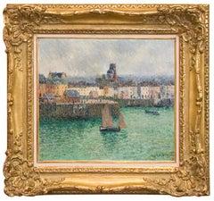 """Impressionist Port Landscape """"L'avant port de Dieppe"""", by Gustave Loiseau"""