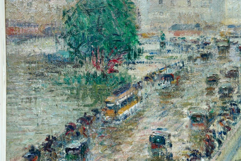 A stunning oil on canvas by Gustave Loiseau depicting figures on the Pont Corneille bridge which crossed over the river Seine in Rouen and the city beyond. Signed lower right and dated 1927 verso.  Dimensions: Framed: 30