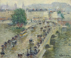 Le Pont Corneille a Rouen - 20th Century Figures in City Landscape by G Loiseau