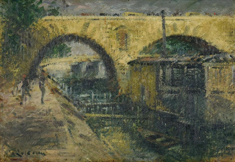 Pont Marie, Paris by GUSTAVE LOISEAU - Post-Impressionist, Oil, Paris, Bridge - Painting by Gustave Loiseau