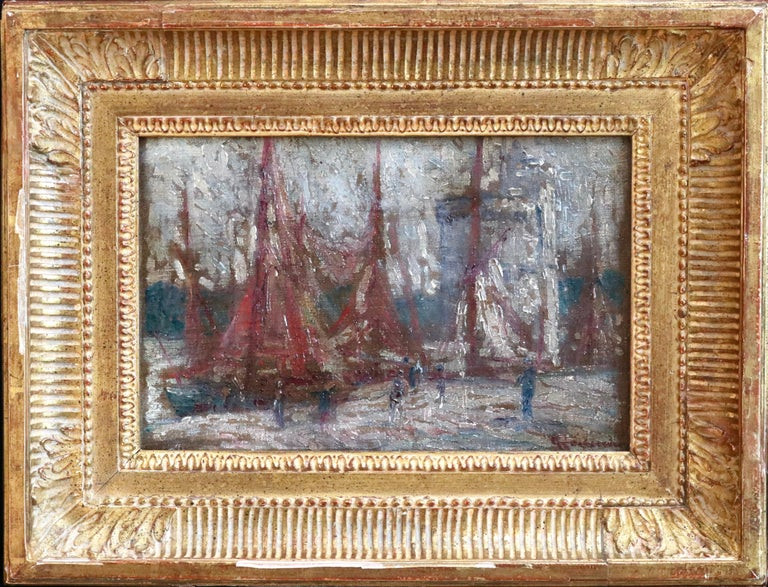 Unloading Boats - 19th Century Oil, Figures at Boats at Harbour by G Loiseau - Painting by Gustave Loiseau