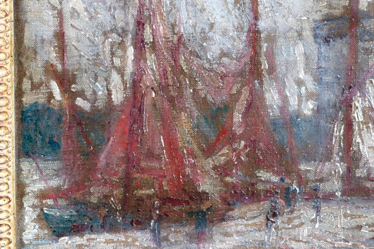 An enchanting, highly expressive picture in the very distinctive style of popular artist Gustave Loiseau. Depicting the scene of boats being unloaded.  Oil on canvas board, signed lower right. Framed dimensions are 11 inches high by 14.5 inches