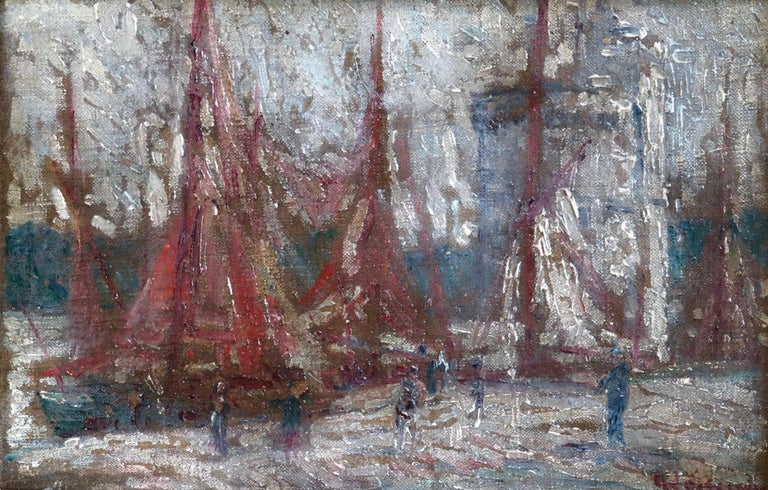 Gustave Loiseau Landscape Painting - Unloading Boats - 19th Century Oil, Figures at Boats at Harbour by G Loiseau
