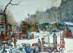An Antique Fair - Paris - Impressionist Oil, Figures in Cityscape by G Madelain