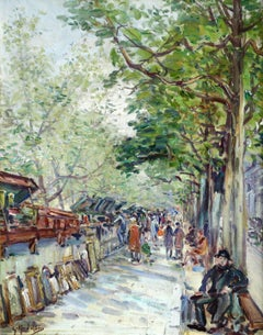 """""""Les Bouquinistes"""" Madelain C.19th French Post-Impressionist Figures in Market"""