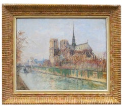 Paris Notre Dame Seine Bank by Gustave Madelain