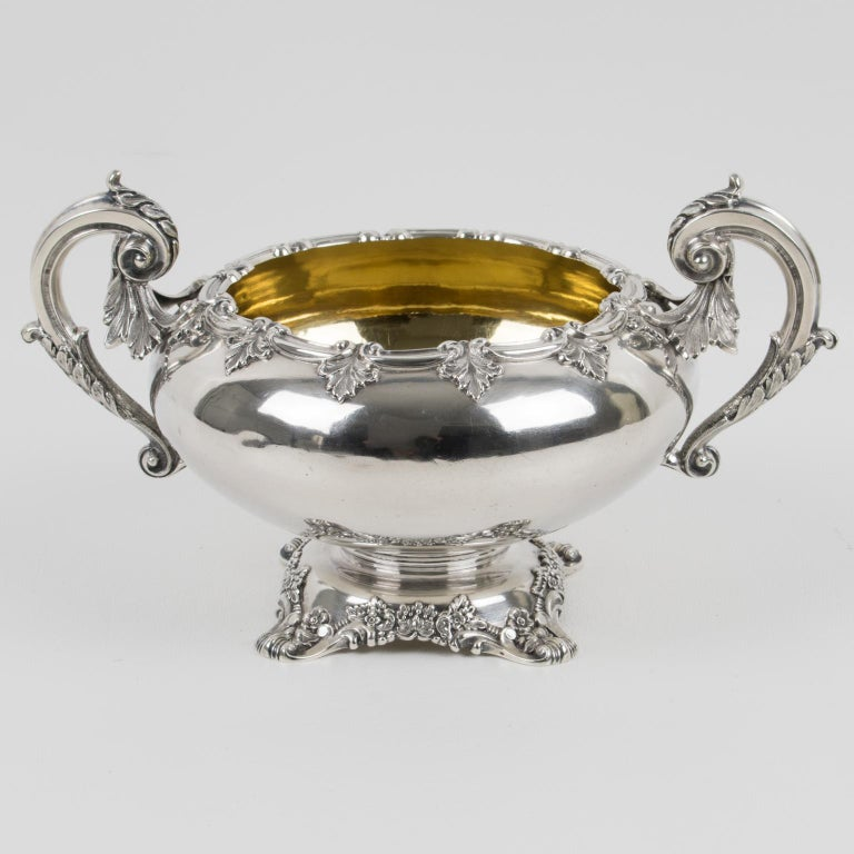 Sophisticated turn of the 19th Century sterling silver decorative bowl by Odiot, Paris. Rounded shape resting on a floral pedestal with an