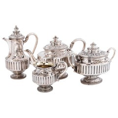 Gustave Odiot, Silver Tea Coffee Set 4 Pieces